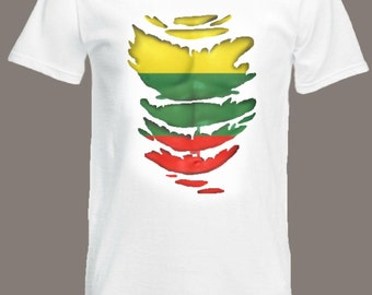Lithuan Flag T-Shirt See Muscles through Ripped T-Shirt Lithuania in all sizes