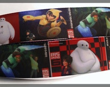 "Big Hero 6 Movie Fun Kids Inspired Printed Grosgrain Ribbon 1"" Wide 247241"