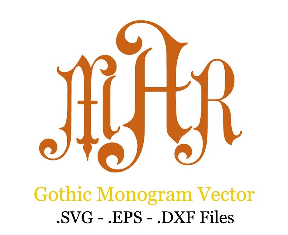 Gothic monogram font vector eps svg dxf by vectorsdesign