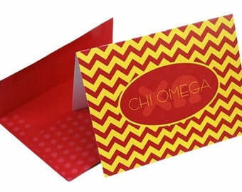 Chi Omega Chevron Note Cards