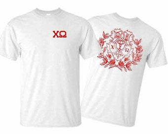 Chi Omega World Famous Crest Tee - Red Print