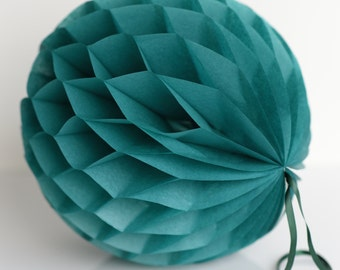 Teal tissue paper honeycombs -  hanging wedding party decorations