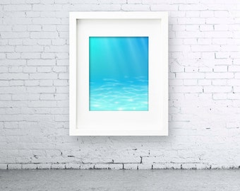 Abstract Underwater 5 x 7 or 8 x 10 PHYSICAL Art Poster Wall Print Poster Clean Simple Modern Minimalist Gift Ocean Floor Light