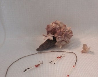 Vintage Native American Porcupine Quill Necklace and Earring Set