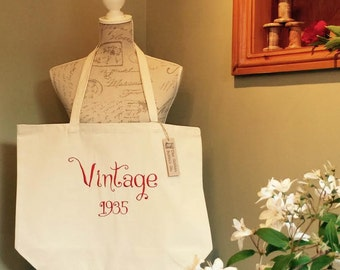 BESPOKE Birthday Year Bag Vintage Supershopper 100% cotton tote bag PERSONALISED (double sided embroidery)