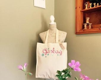 Gasbag! Tote shopper bag cotton shopping handbag humor handmade embroidered
