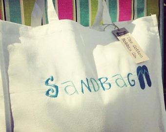 Sandbag! Tote shopper bag cotton shopping handbag humor handmade embroidered beach bag holiday bag
