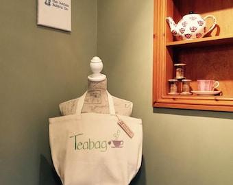 Bag Tote Teabag Super shopper 100% cotton large tote short handles