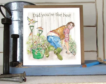 Dad's Birthday Card  -Gardener's Bum -Gardening-men's Birthday card-Gardens- Hand Illustrated - Greeting Card----code FD04