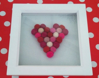 Pink & Red Love Heart Box Frame