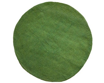 One-Tone Olive Green Round Felt Rug