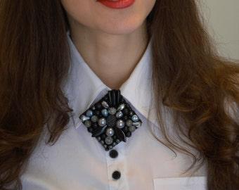 FREE SHIPPING! Luxury And Stylish Brooch. Bead Embroidery Brooch.  Beadwork Brooch. Gemstones Brooch. Black & Silver Brooch.
