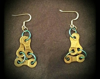 Multi-colored Bicycle Chain Earrings