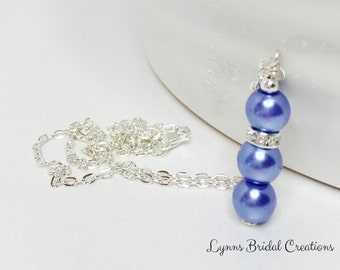 Blue Pearl Necklace Bridesmaid Gift Wedding Necklace Pearl Jewelry Denim Blue Pendant Blue Jewelry Pendant Necklace Mother of the Bride Gift