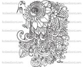 instant download - adult coloring page - big bird doodle