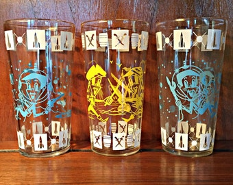 Space Age Glass Set of 3
