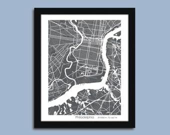 Philadelphia map, Philadelphia city art map, Philadelphia wall art poster, Philadelphia decorative map