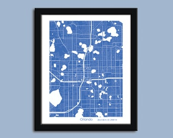 Orlando map, Orlando city art map, Orlando wall art poster, Orlando decorative map