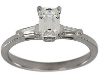 Emerald Cut Diamond In Baguette Diamond Ring 1/2 Ct In 14k White Gold Ring