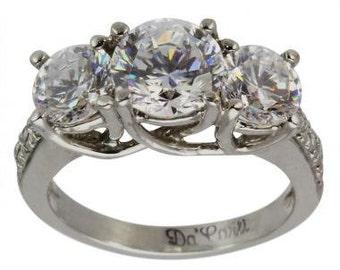 Three Ct Tw Three Stone Diamond Ring In 14K White Gold