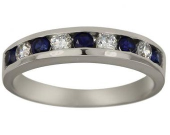 Sapphire Diamond Anniversary Ring With 0.75 Carat Sapphires And Channel Diamonds
