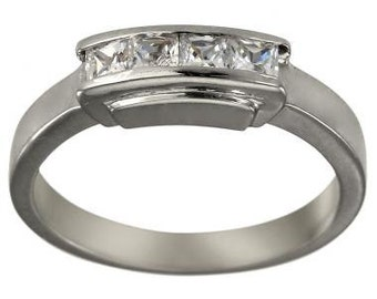 Princess Cut Diamond Wedding Band In 14K White Gold With 0.40ct Diamonds