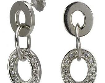 Modern Hanging Flexible Oval Shaped Diamond Earrings