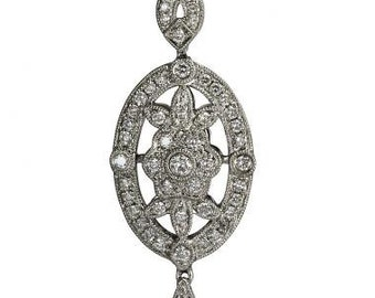 Large Antique Filigree Diamond Necklace In 18Kt Gold
