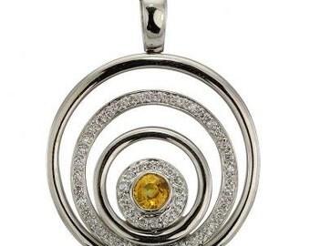 Diamond Necklace Diamond Pendant Necklace & Bezel Set Yellow Sapphire 18K Gold