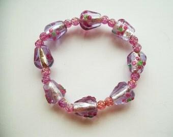 Purple Acrylic Beaded Stretch Bracelet
