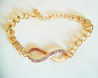 Gold Rhinestone Chain Link Bracelet