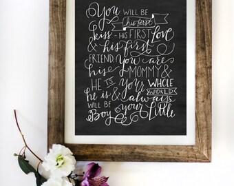 Baby boy print - Little boy quote - hand written baby quote