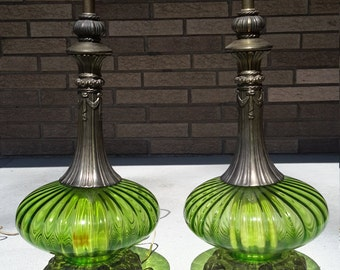 Vintage Mid Century Modern Hollywood Regency Green Globe Table Lamps