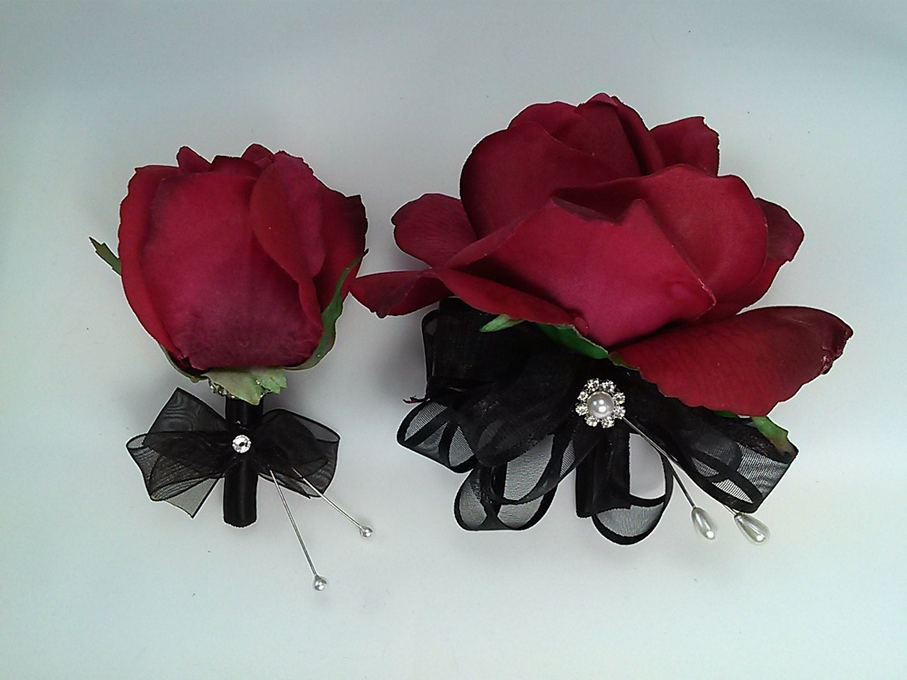 Red Rose Corsage and Boutonniere Set Wedding