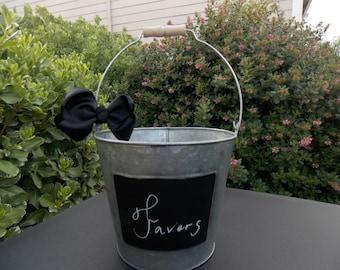 Chalkboard Bucket - Wedding Chalkboard - Wedding Pail - Wedding Bucket - Favors Bucket - Black Bow - Country Wedding - Rustic Wedding