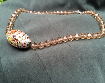 """Czech Crystal Necklace with crushed gemstone focal Artisan Handmade 16"""""""