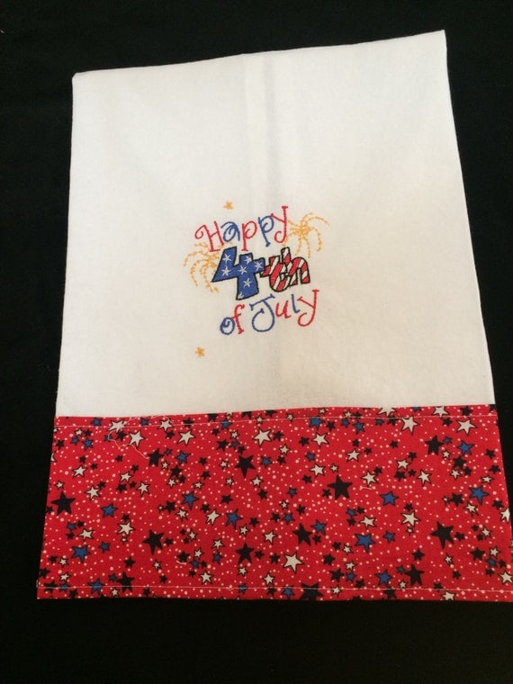 Kitchen towel machine embroidered happy th of