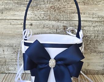 Wedding Flower Girl Basket- NAVY BLUE, White / Ivory Wedding Basket,Wedding Flower Girl Basket