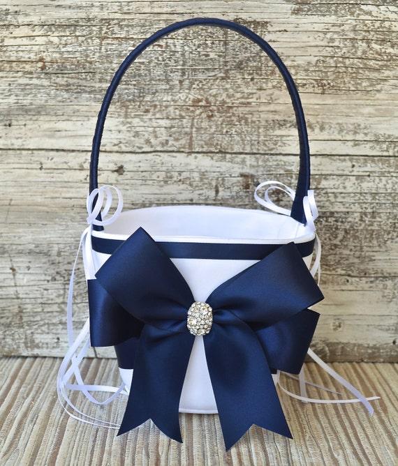 Wedding Flower Girl Basket NAVY BLUE White Or Ivory Wedding