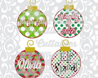 Christmas Ornament SVG designs for  Silhouette or other craft cutters (.svg/.dxf/.eps)