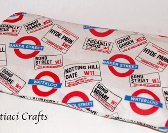 Small make up bag London street sign fabric