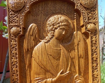Archangel Michael  religious icon Wood carving  wall chistian decor FREE SHIPPING