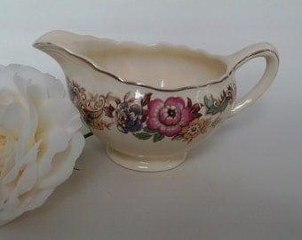 Vintage Sunshine J&R Meakin England jug for cream/1940s-1950s/good condition/pretty floral design/no chips