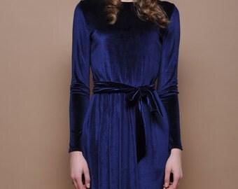 Navy Blue Velvet Mini Dress Long Sleeves Pockets