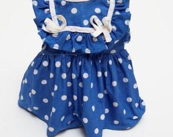 1960s / 1970s - Royal Blue POLKA DOT DOLL Dress