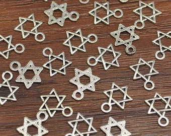 Antique Silver Six Pointed Star Charms Six Pointed Star Pendants 14 x 10 mm