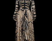 La Mendola 1960s Italian couture animal print silk chiffon & silk jersey maxi dress, sash belted waist, bishop sleeves