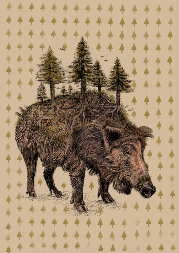 The Whole World For A Boar, Postcard A5, 300g recycled paper