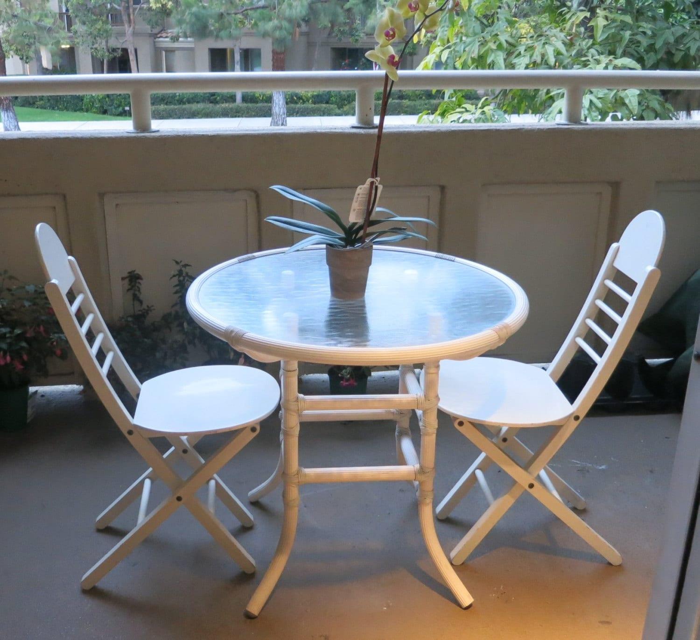 Wicker Outdoor Patio White Table Garden Furniture Set