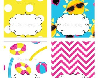 POOL PARTY Table Tents / Food Labels / Place Cards - Instant Download - Birthday Party, Kids Party. Printable DIY Girl or Boy